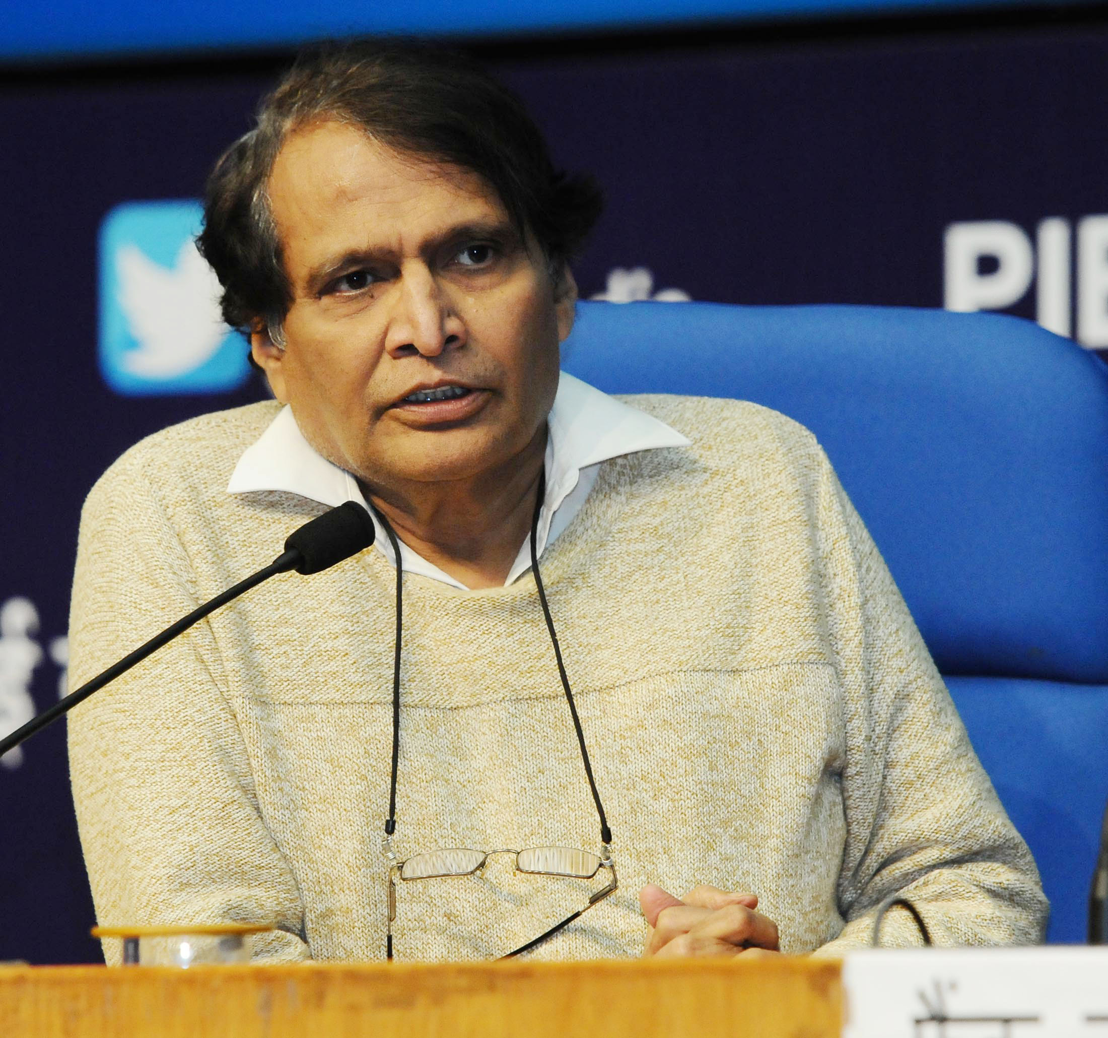 The Union Minister for Commerce & Industry, Shri Suresh Prabhakar Prabhu holding a Press Conference on the 3rd meeting of Council for Trade Development and Promotion, in New Delhi on January 08, 2018.